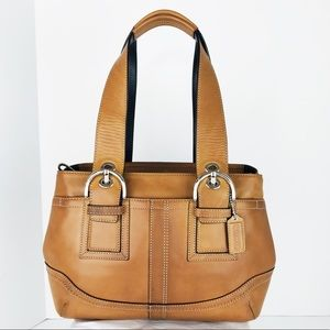 NWOT Burnished Tan Leather Soho Zip Top Tote Bag